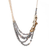 Alexis Bittar Stone Studded Crumpled Multi Strand Beaded Necklace