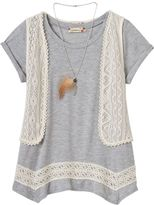 Speechless Girls 7-16 & Plus Size 4-point Tee, Crochet Vest & Necklace Set