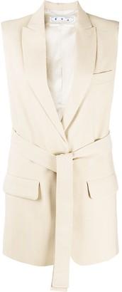 Off-White Sleeveless Single-Breasted Blazer