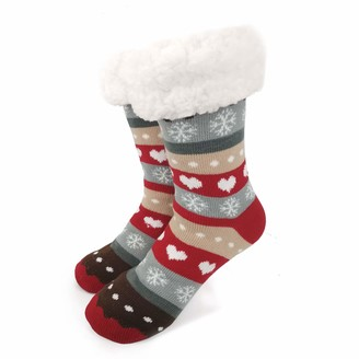 Ofoot Women's Warm Sequin Fuzzy Fleece-lined Snowflake Slipper Socks Knee Highs Christmas Knitted Stockings Girls (M/L(UK 5-6.5)