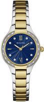 Bulova Women's Diamond (1/8 ct. t.w.) Two-Tone Stainless Steel Bracelet Watch 28mm 98R223, A Macy's Exclusive Style