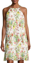 Neiman Marcus Chain-Neck Sleeveless Pleated Dress, Multi