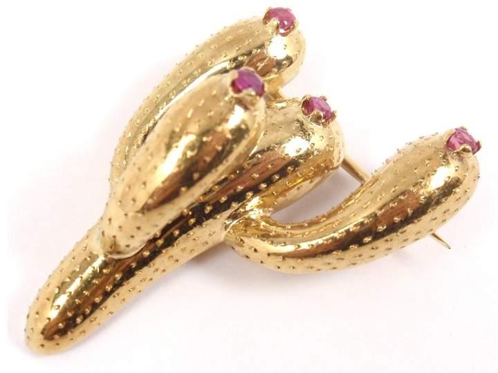 Tiffany & Co. 18K Yellow Gold Ruby Cactus Pin Brooch
