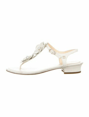 Chanel Faux Pearl Accents Leather T-Strap Sandals White