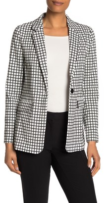 Adrianna Papell Checkered Jacquard Notch Collar Blazer Jacket