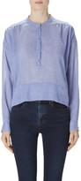 J Brand Gail Long Sleeve Henley In Blue Dreams
