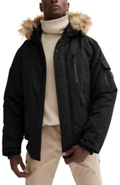 Noize Men's Max Bomber with Fixed Hood & Removable Faux Fur