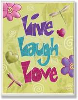 Stupell Industries The Kids Room by Stupell Live, Laugh, Love with Green Swirly Background Rectangle Wall Plaque