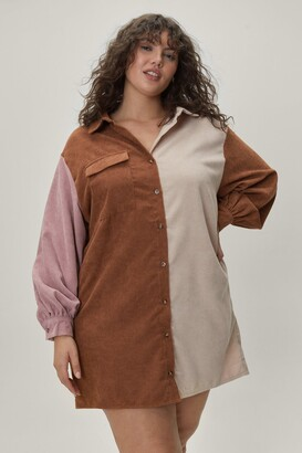 Nasty Gal Womens Plus Size Corduroy Colorblock Shirt Dress - Tan