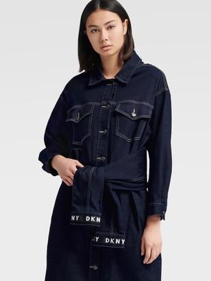 DKNY Denim Shirtdress With Waist Tie