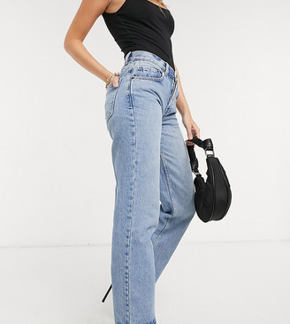 ASOS DESIGN Petite recycled mid rise '90's' straight leg jeans in greencast