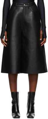 Balenciaga Black Leather Cropped Pants