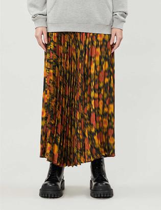 Topshop High-waist pleated floral-print satin-crepe midi skirt