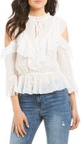 C & V Chelsea & Violet Cold Shoulder Ruffle Lace Blouse
