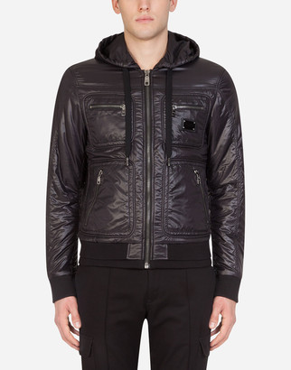 Dolce & Gabbana Nylon Quilted Jacket With Hood And Patch