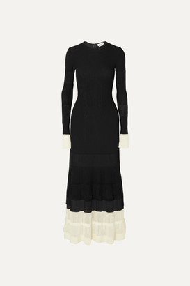 Alexander McQueen Two-tone Paneled Ribbed-knit Maxi Dress - Black