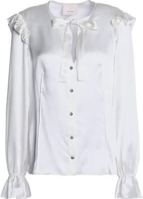 Cinq à Sept Ruffled Bow-embellished Silk-satin Shirt