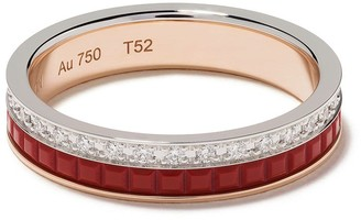 Boucheron 18kt white and yellow gold Quatre Red Edition red ceramic and diamond wedding band