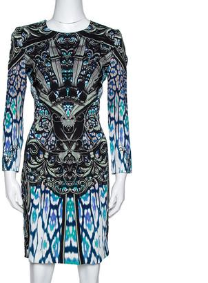 Just Cavalli Multicolor Stretch Crepe Victorian Print Midi Dress M