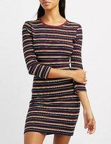 Charlotte Russe Striped Crew Neck Bodycon Dress