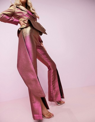 ASOS DESIGN Luxe two tone split front flare trousers