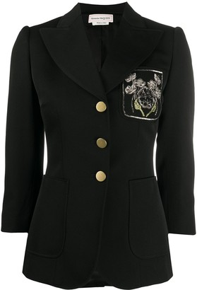 Alexander McQueen Flower Applique Pocket Blazer