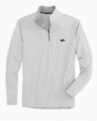 Southern Tide Arkansas Razorbacks Striped Quarter Zip Pullover