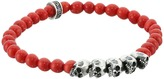 King Baby Studio 6mm Red Coral Bead Bracelet with Skull Bridge Bracelet