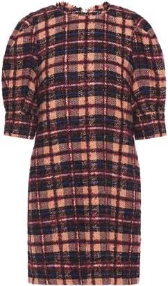 Hofmann Copenhagen Frayed Checked Boucle-tweed Mini Dress
