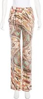 Roberto Cavalli Leather-Trimmed High-Rise Jeans