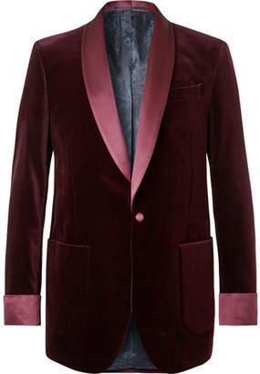 Favourbrook Burgundy Slim-Fit Satin-Trimmed Cotton-Velvet Tuxedo Jacket