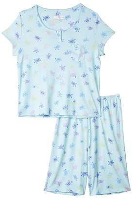 Karen Neuburger Petite Tropical Capsule Short Sleeve Pullover Bermuda Pajama (Turtle Medley Aqua) Women's Pajama Sets