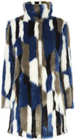 Karen Millen Patchwork Faux Fur Coat - Blue/multi