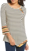 Multiples 3/4 Sleeve Stripe Print Asymmetrical Hem Knit Top