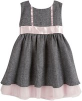 Andy & Evan Herringbone Dress (Baby) - Black-6-12 Months