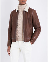 Corneliani Leather And Shearling Aviator Jacket