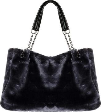 Milky Way Women Faux Fur Handbag Shoulder Bag Fluffy Bucket Crossbody Bag Tote Bag (Grey)