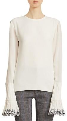 Chloé Emro-Cuff Long-Sleeve Silk Shirt