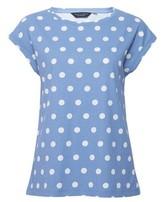 Dorothy Perkins Womens Blue Spot Print Roll Sleeve T