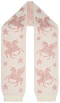 Monsoon Luna Unicorn Jacquard Fluffy Scarf - Ivory