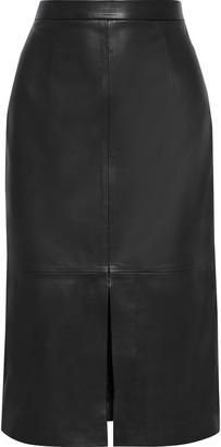 Iris & Ink Malena Split-front Leather Pencil Skirt