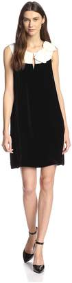 JB by Julie Brown Women's Skylar Velvet Shift Dress with Bow
