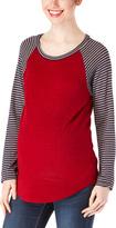 Chris & Carol Red & Navy Stripe Raglan Maternity Top