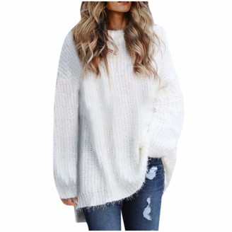 Gofodn Tops for Women Pullover Sweater Jumper Knitwear Solid Plus Size Loose Round Collar Long Sleeve Blouse Gray