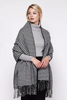 Yumi Black Double Sided Dogtooth Stripe Scarf