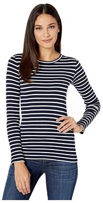 Vince Feeder Stripe Long Sleeve Crew (Wavecrest/Off-White) Women's Clothing