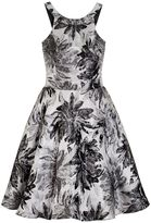 Quiz Grey and Silver Metallic Jacquard Dress