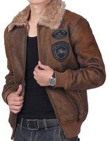 Jinmen Men's Suede Lamb Wool Coat Flight Jacket