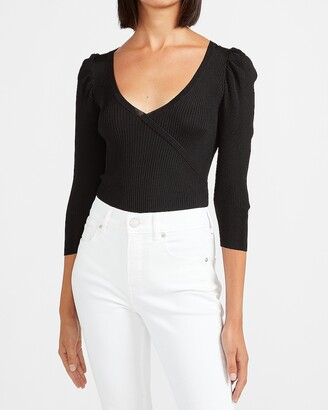 Express Ribbed Wrap Front V-Neck Sweater