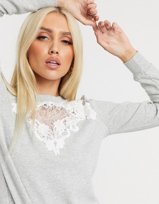 Lipsy lace detail jumper in grey